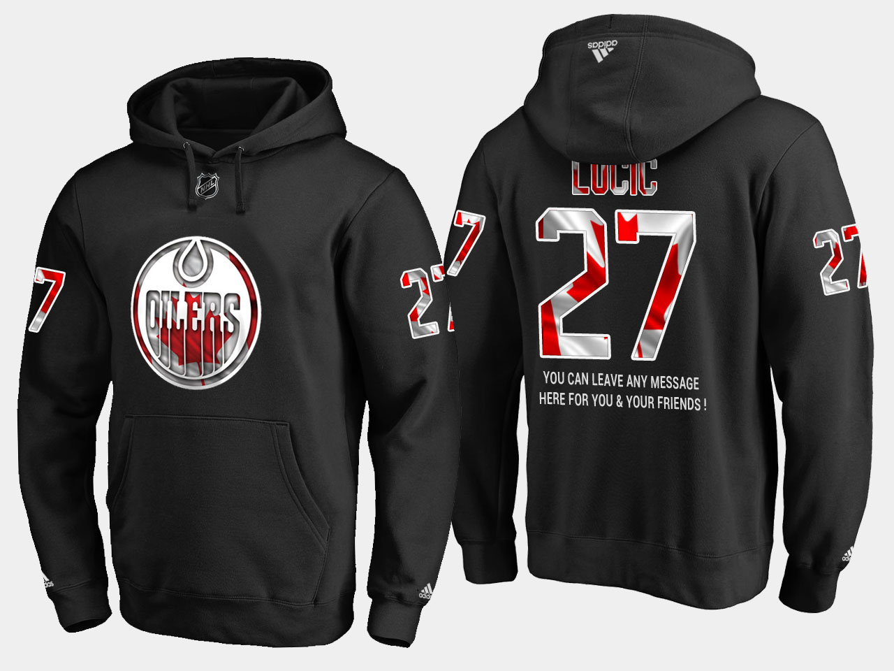 Oilers #27 Milan Lucic NHL Banner Wave Usa Flag Black Hoodie