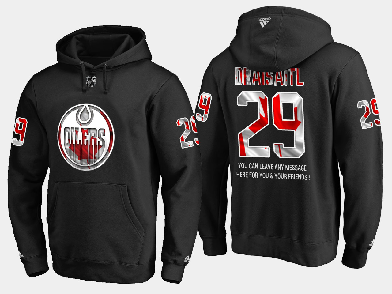 Oilers #29 Leon Draisaitl NHL Banner Wave Usa Flag Black Hoodie