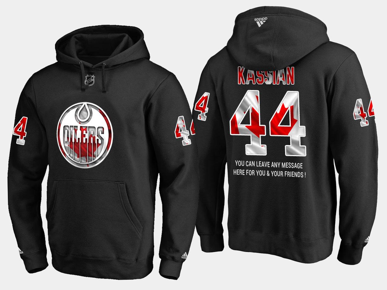 Oilers #44 Zack Kassian NHL Banner Wave Usa Flag Black Hoodie