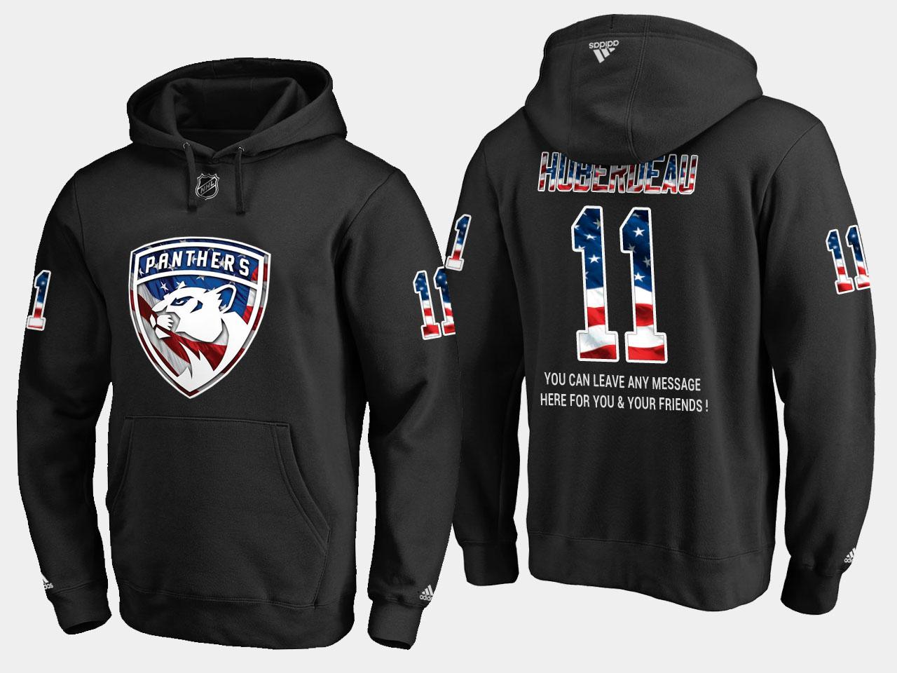 Panthers #11 Jonathan Huberdeau NHL Banner Wave Usa Flag Black Hoodie