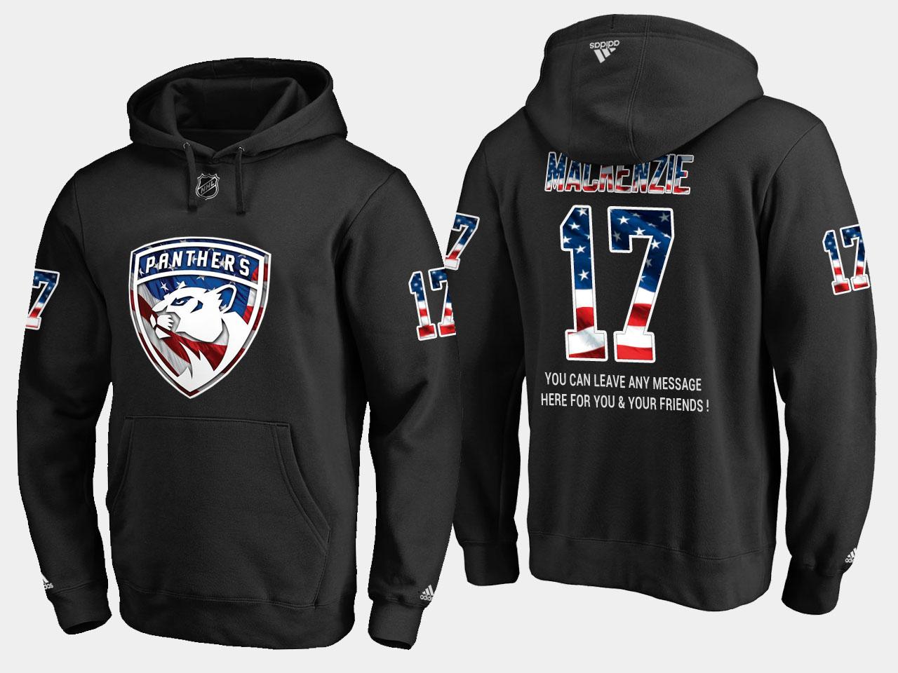 Panthers #17 Derek Mackenzie NHL Banner Wave Usa Flag Black Hoodie
