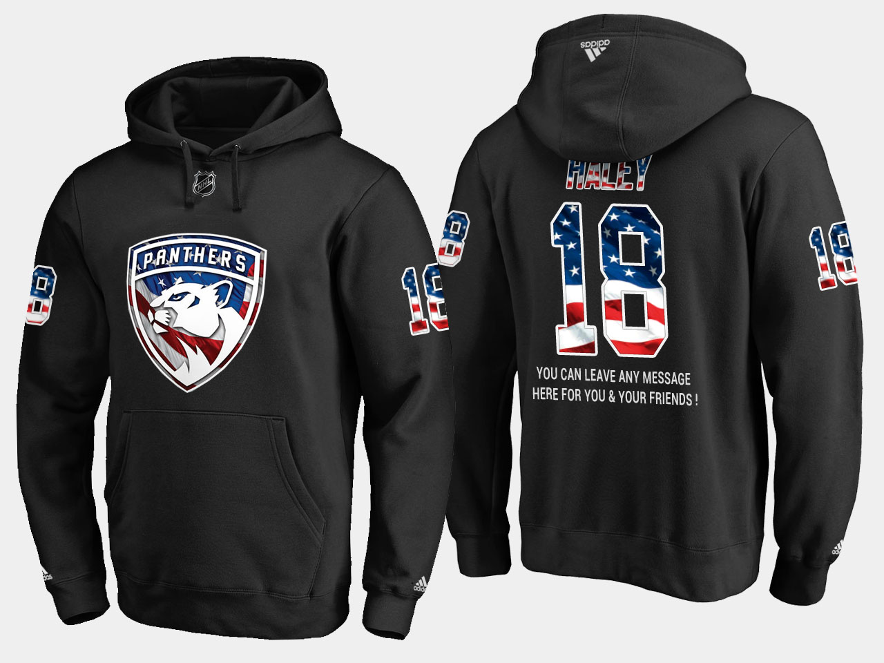 Panthers #18 Micheal Haley NHL Banner Wave Usa Flag Black Hoodie