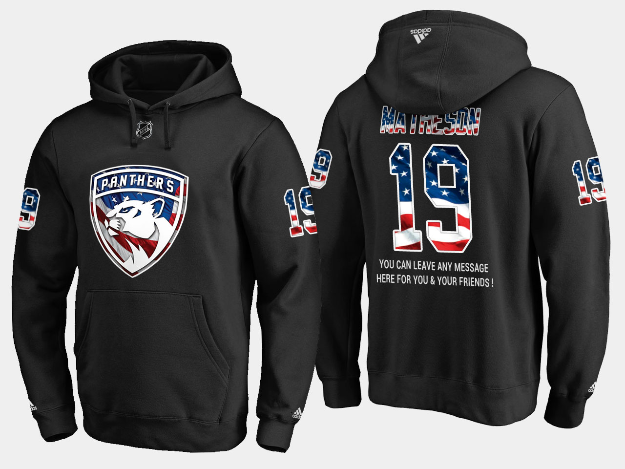 Panthers #19 Mike Matheson NHL Banner Wave Usa Flag Black Hoodie