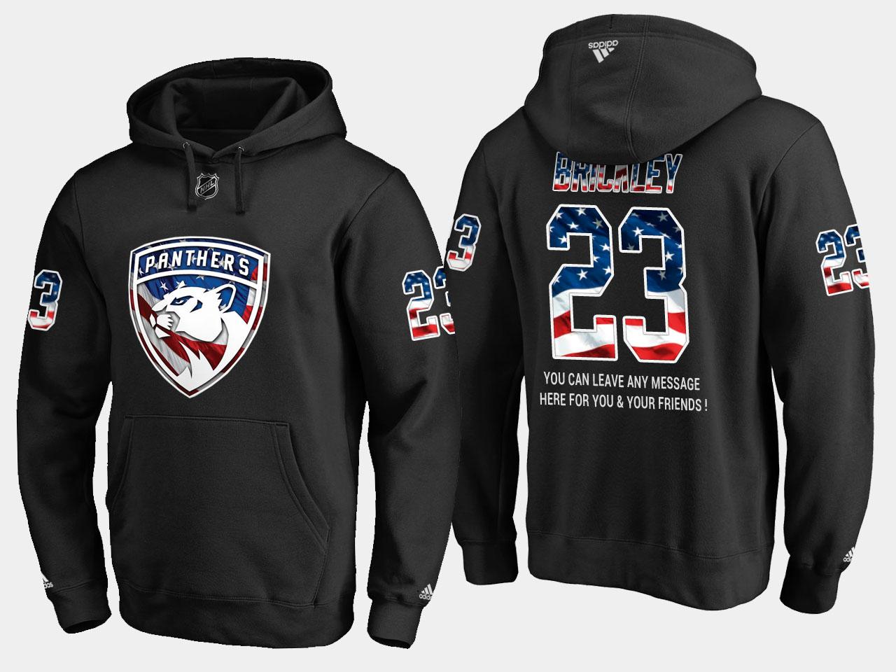Panthers #23 Connor Brickley NHL Banner Wave Usa Flag Black Hoodie