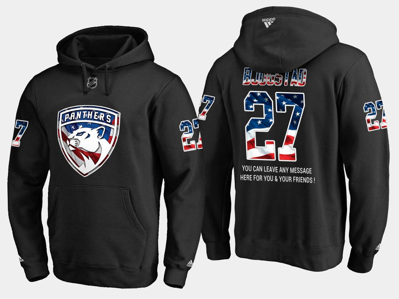 Panthers #27 Nick Bjugstad NHL Banner Wave Usa Flag Black Hoodie
