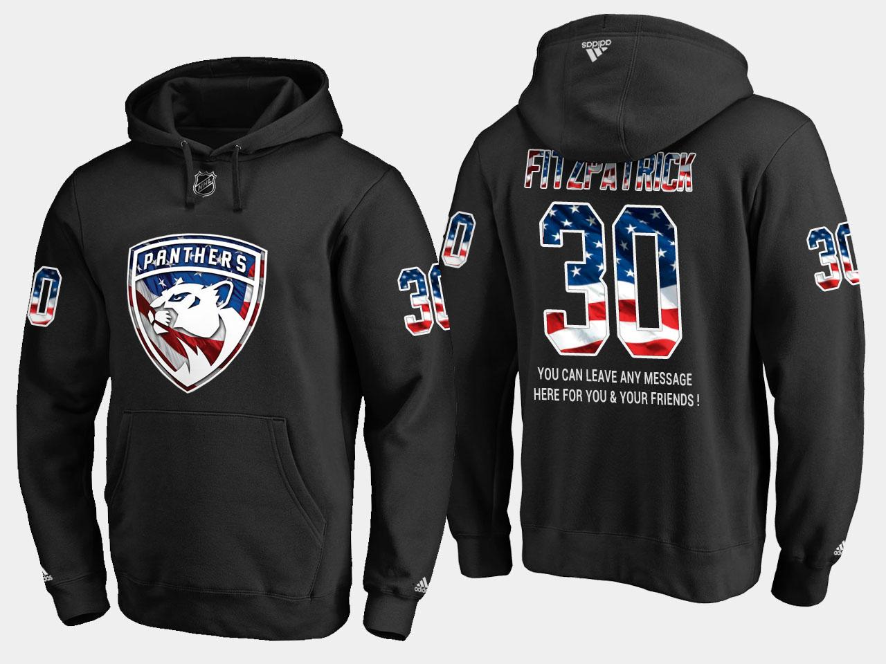 Panthers #30 Mark Fitzpatrick NHL Banner Wave Usa Flag Black Hoodie