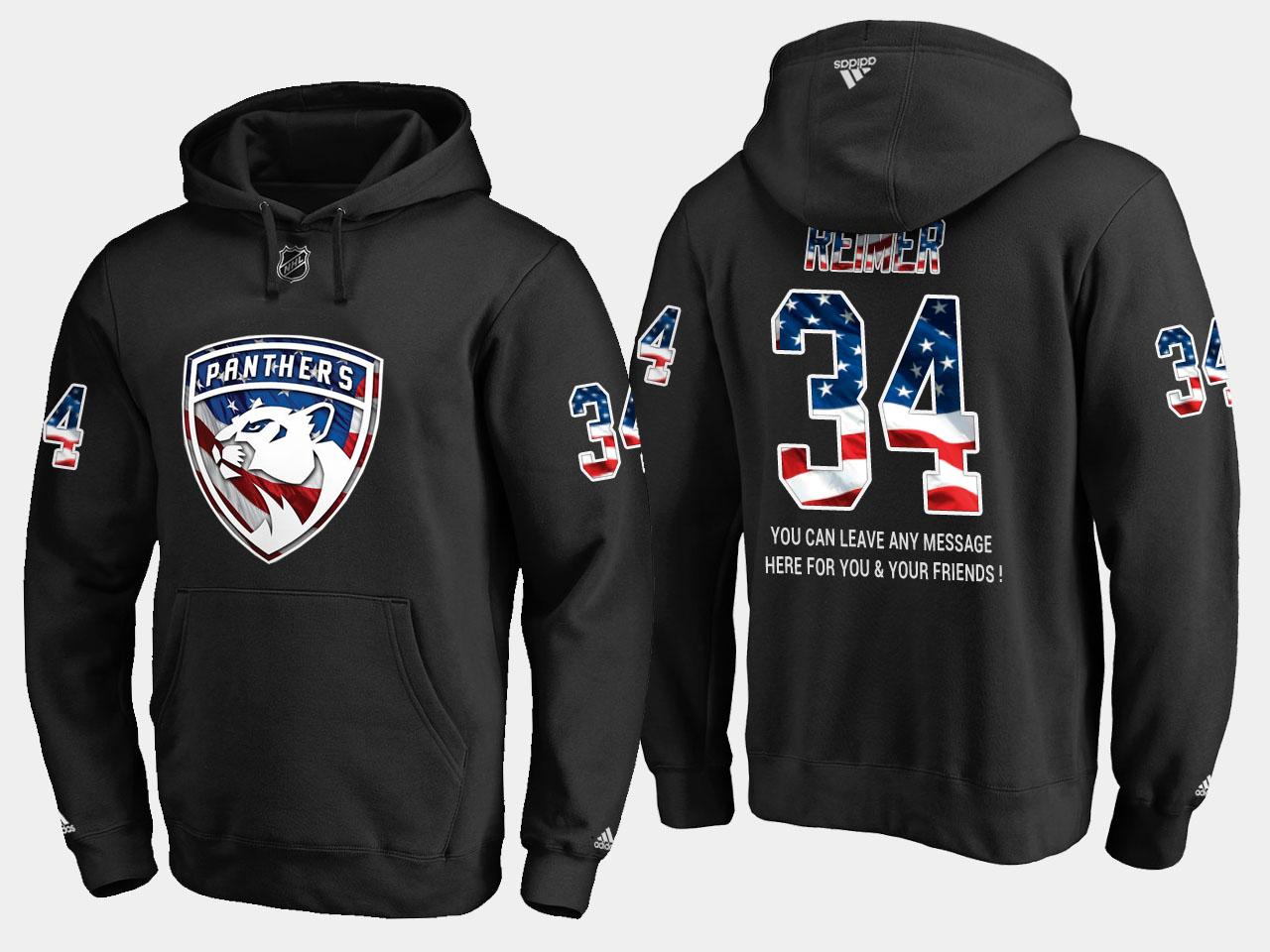 Panthers #34 James Reimer NHL Banner Wave Usa Flag Black Hoodie