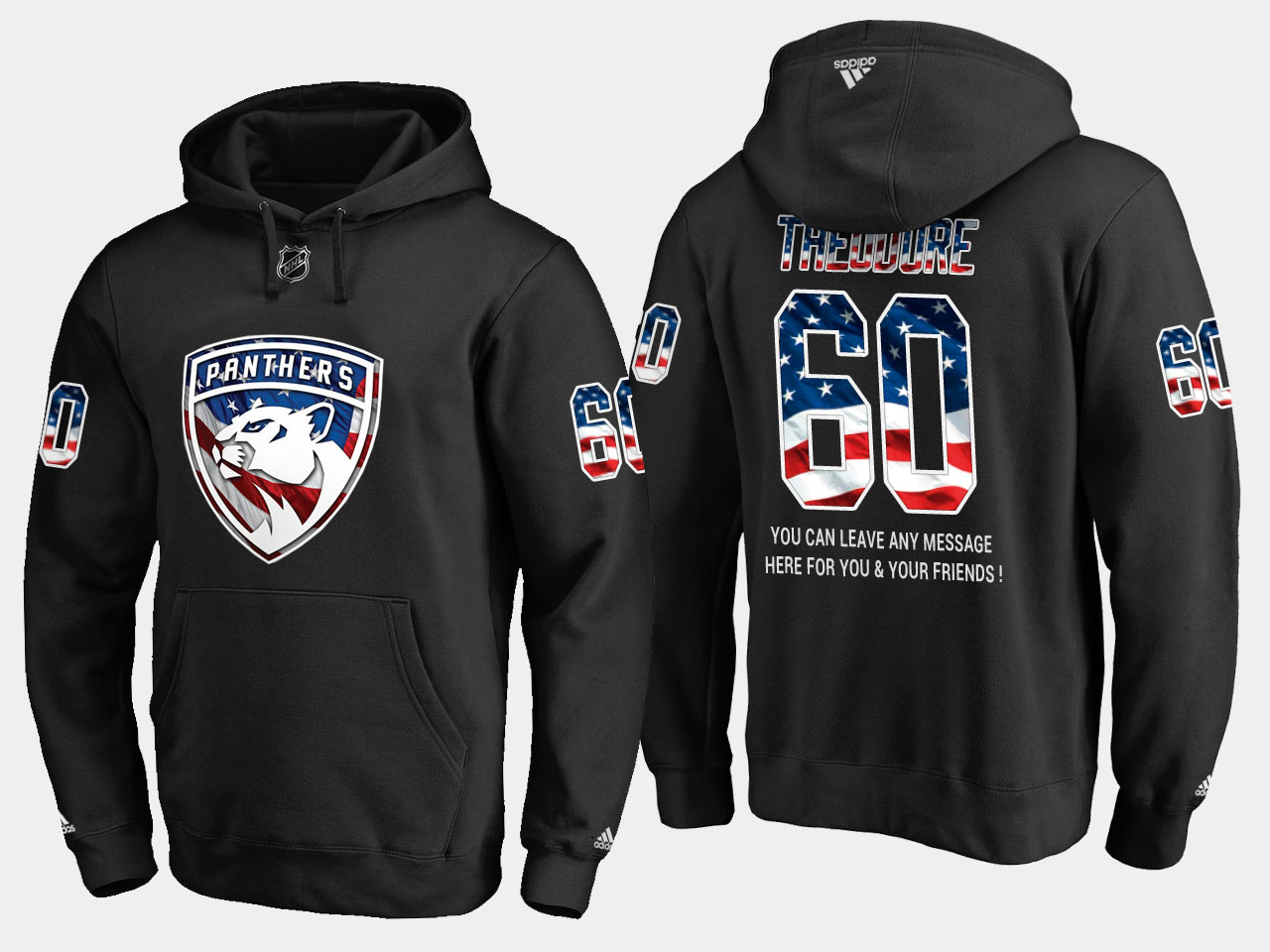 Panthers #60 Jose Theodore NHL Banner Wave Usa Flag Black Hoodie