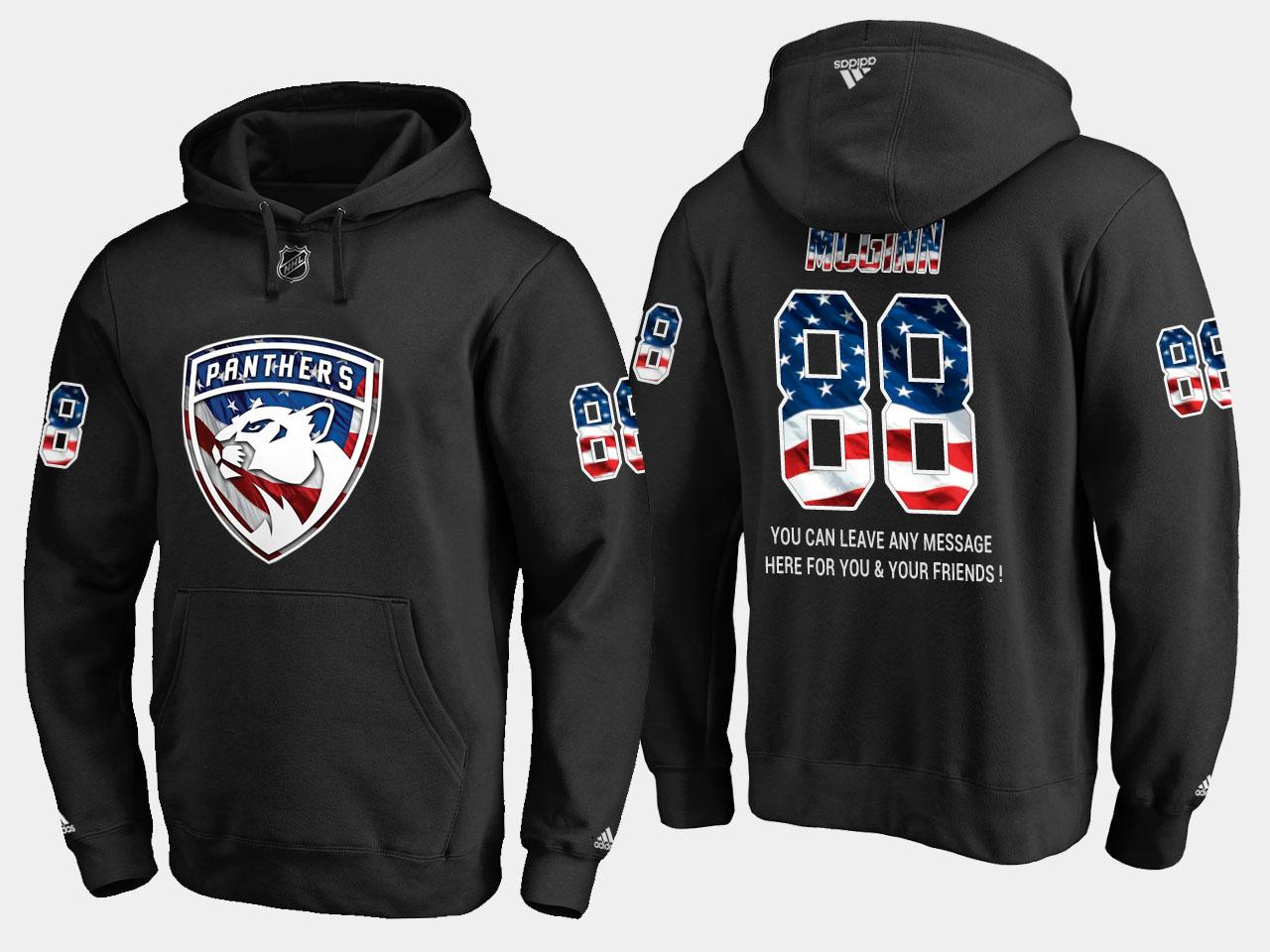 Panthers #88 Jamie Mcginn NHL Banner Wave Usa Flag Black Hoodie
