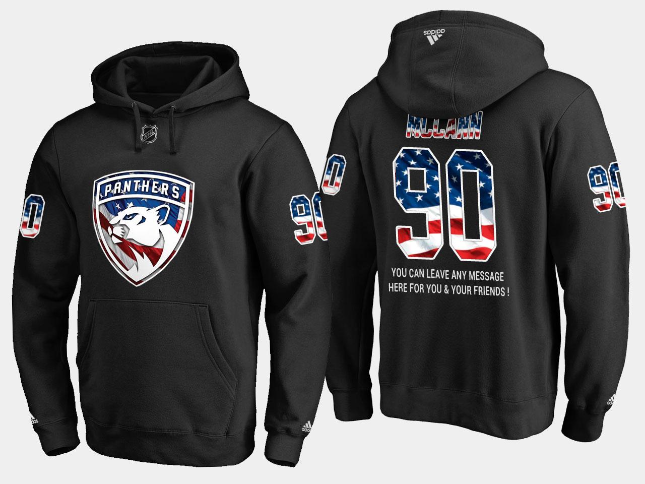 Panthers #90 Jared Mccann NHL Banner Wave Usa Flag Black Hoodie