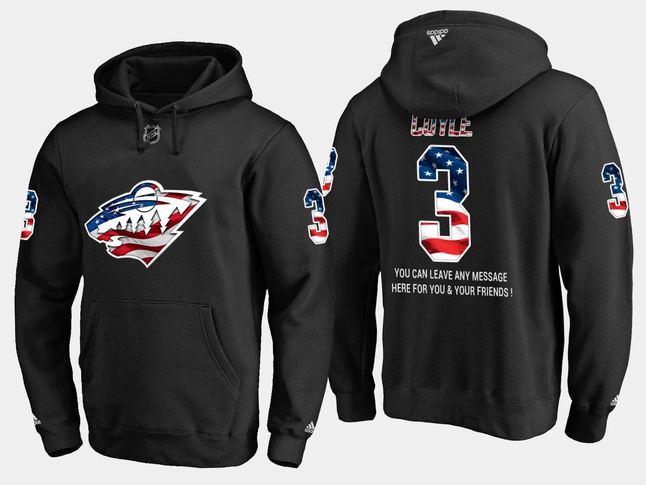 Wild #3 Charlie Coyle NHL Banner Wave Usa Flag Black Hoodie