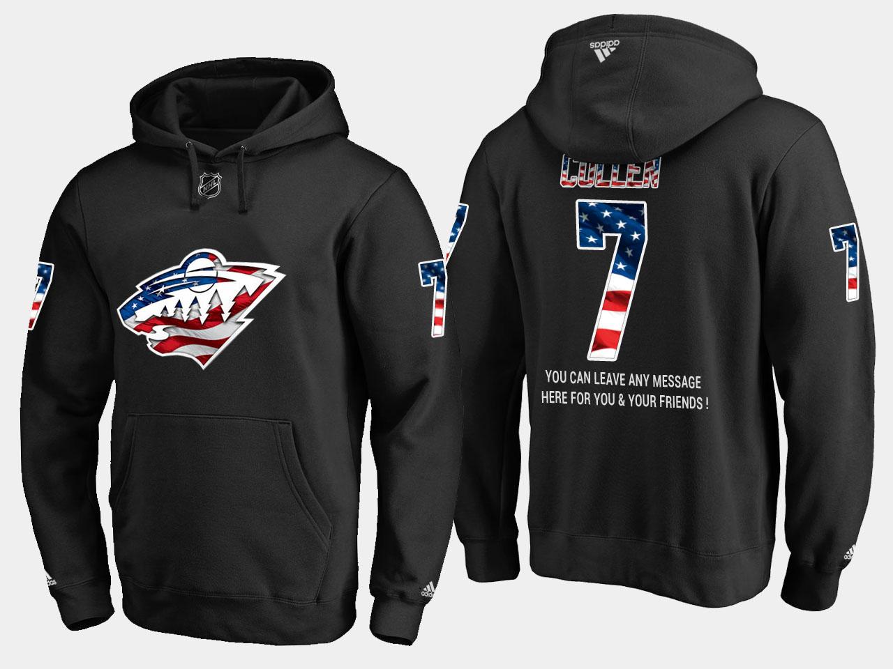 Wild #7 Matt Cullen NHL Banner Wave Usa Flag Black Hoodie