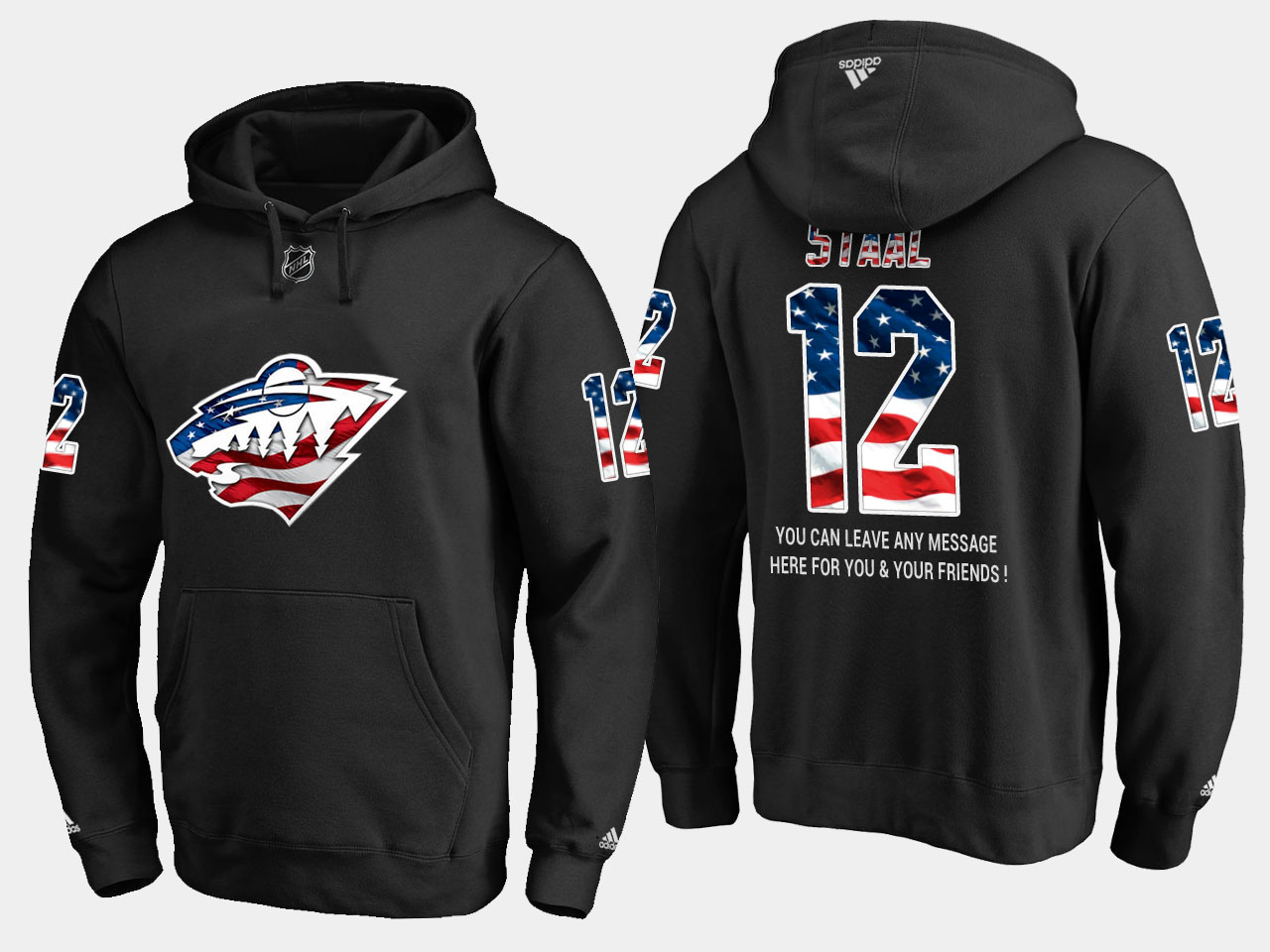 Wild #12 Eric Staal NHL Banner Wave Usa Flag Black Hoodie