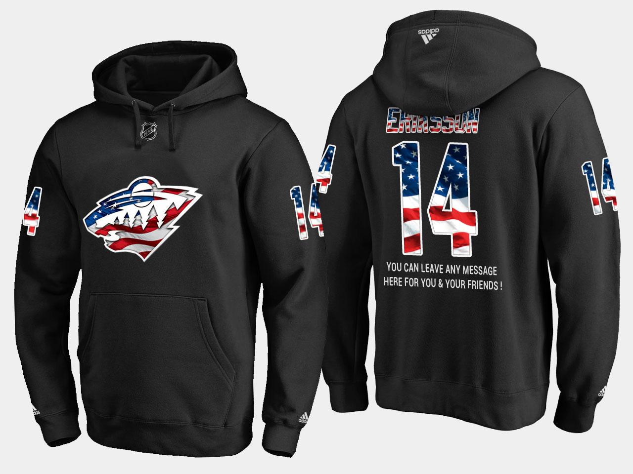 Wild #14 Joel Eriksson Ek NHL Banner Wave Usa Flag Black Hoodie