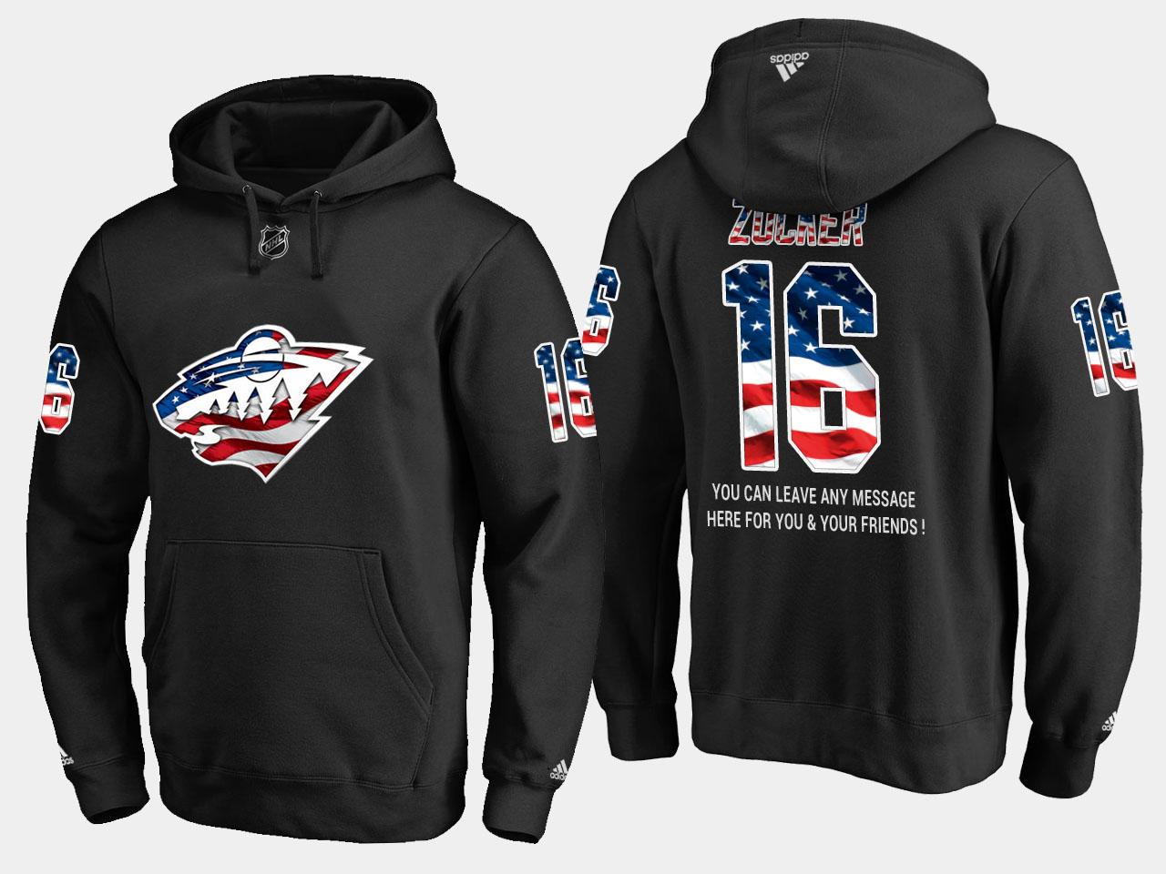Wild #16 Jason Zucker NHL Banner Wave Usa Flag Black Hoodie