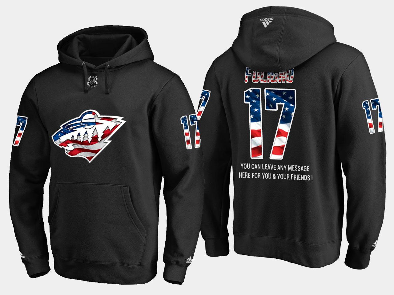 Wild #17 Marcus Foligno NHL Banner Wave Usa Flag Black Hoodie
