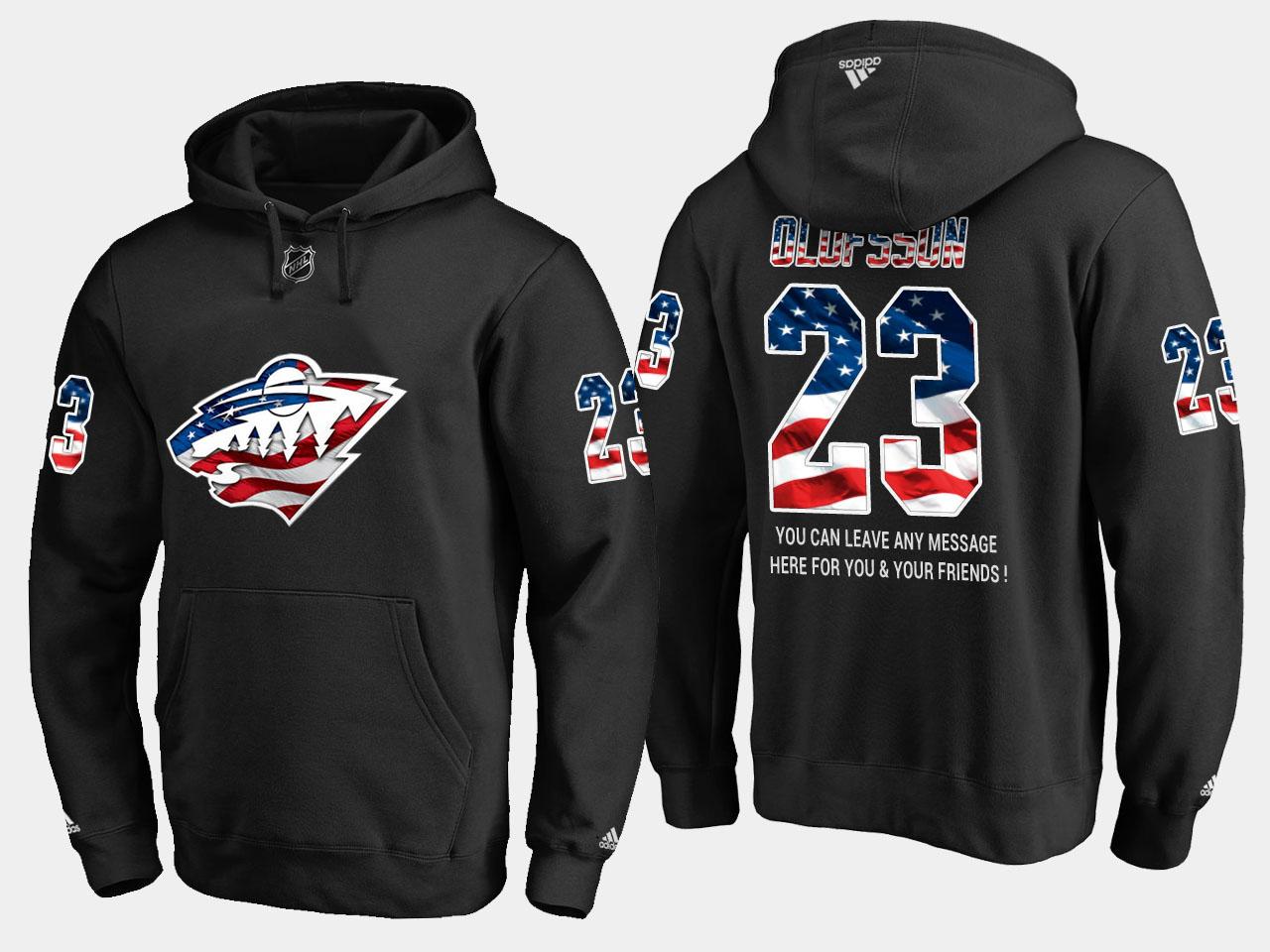 Wild #23 Gustav Olofsson NHL Banner Wave Usa Flag Black Hoodie