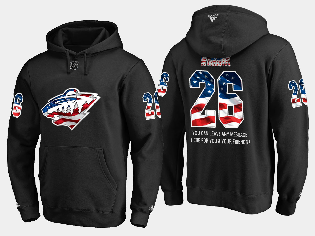 Wild #26 Daniel Winnik NHL Banner Wave Usa Flag Black Hoodie