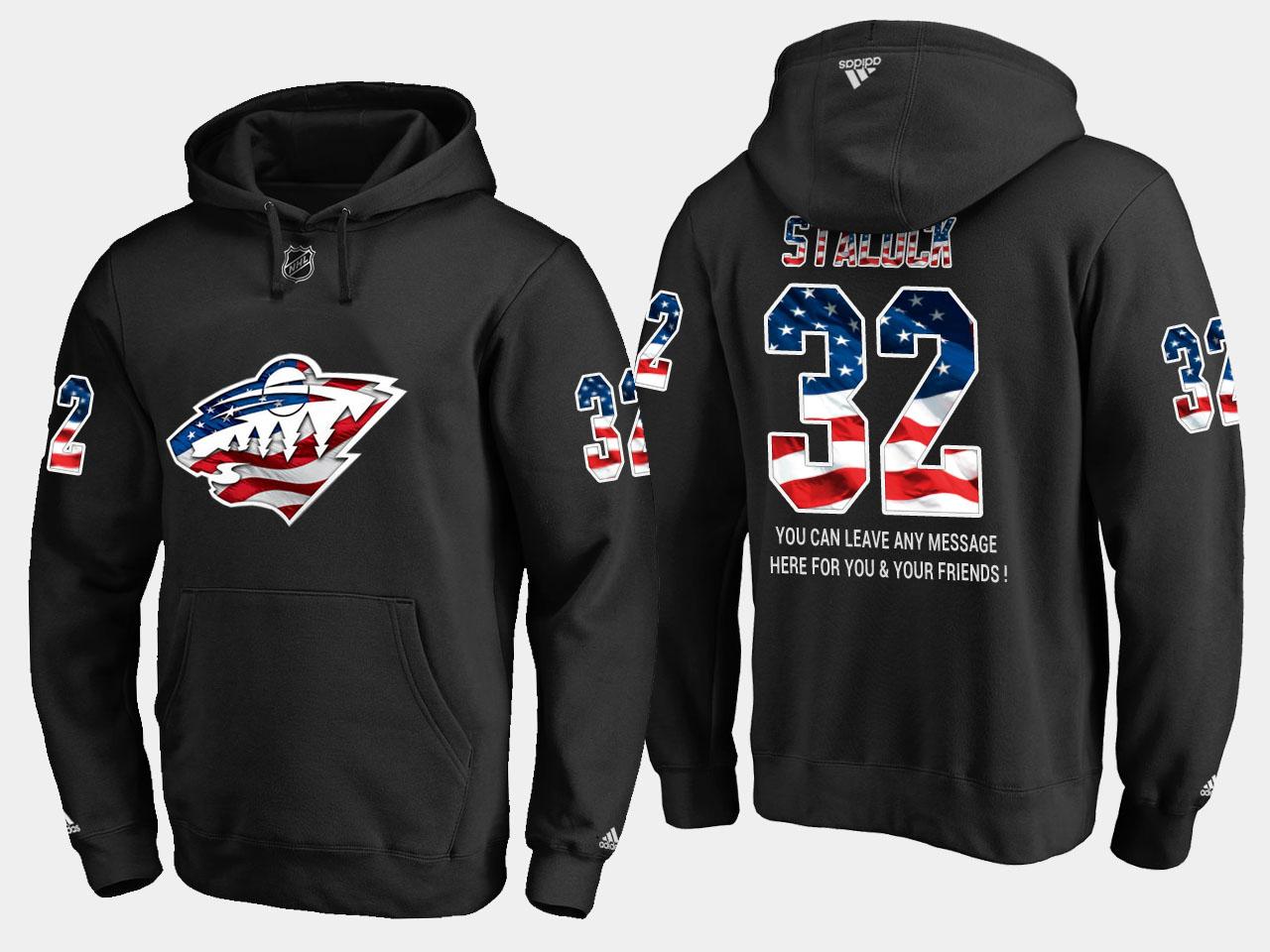 Wild #32 Alex Stalock NHL Banner Wave Usa Flag Black Hoodie