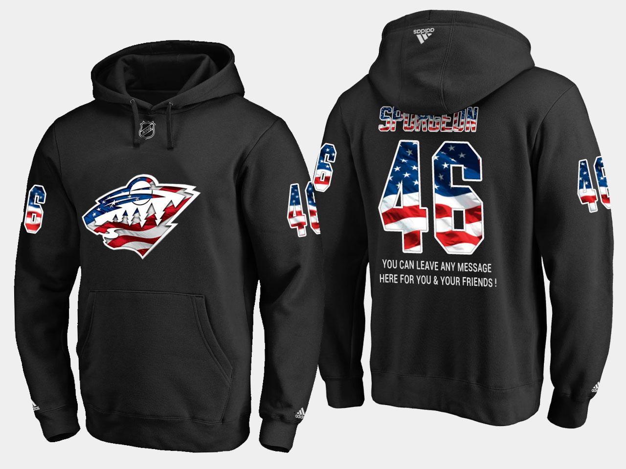 Wild #46 Jared Spurgeon NHL Banner Wave Usa Flag Black Hoodie