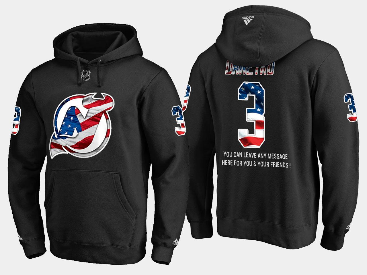 Devils #3 Ken Daneyko NHL Banner Wave Usa Flag Black Hoodie
