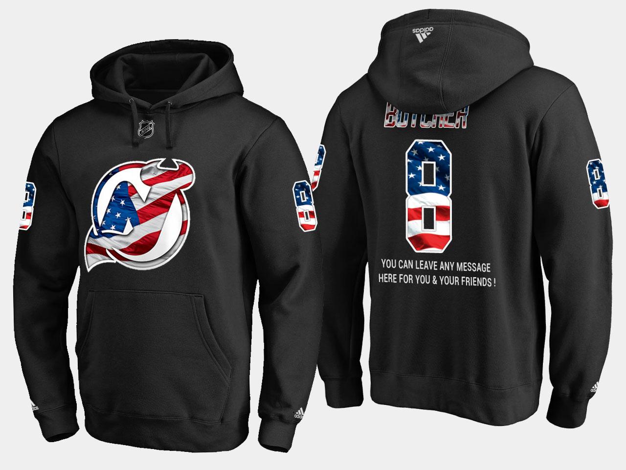 Devils #8 Will Butcher NHL Banner Wave Usa Flag Black Hoodie
