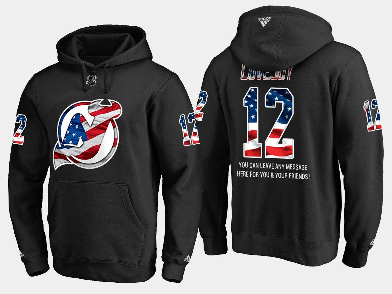 Devils #12 Ben Lovejoy NHL Banner Wave Usa Flag Black Hoodie