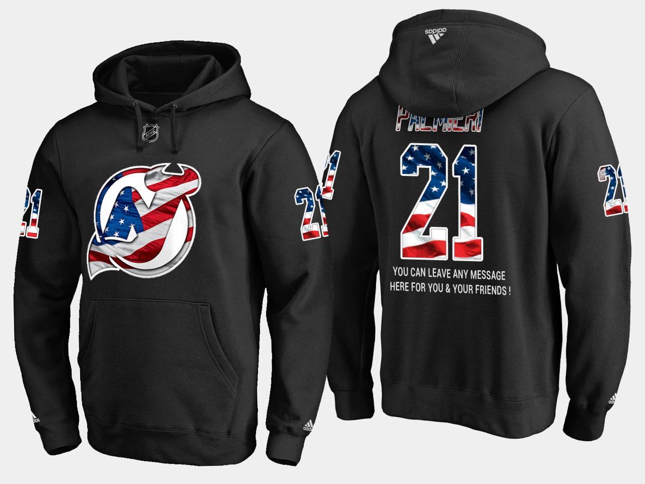 Devils #21 Kyle Palmieri NHL Banner Wave Usa Flag Black Hoodie
