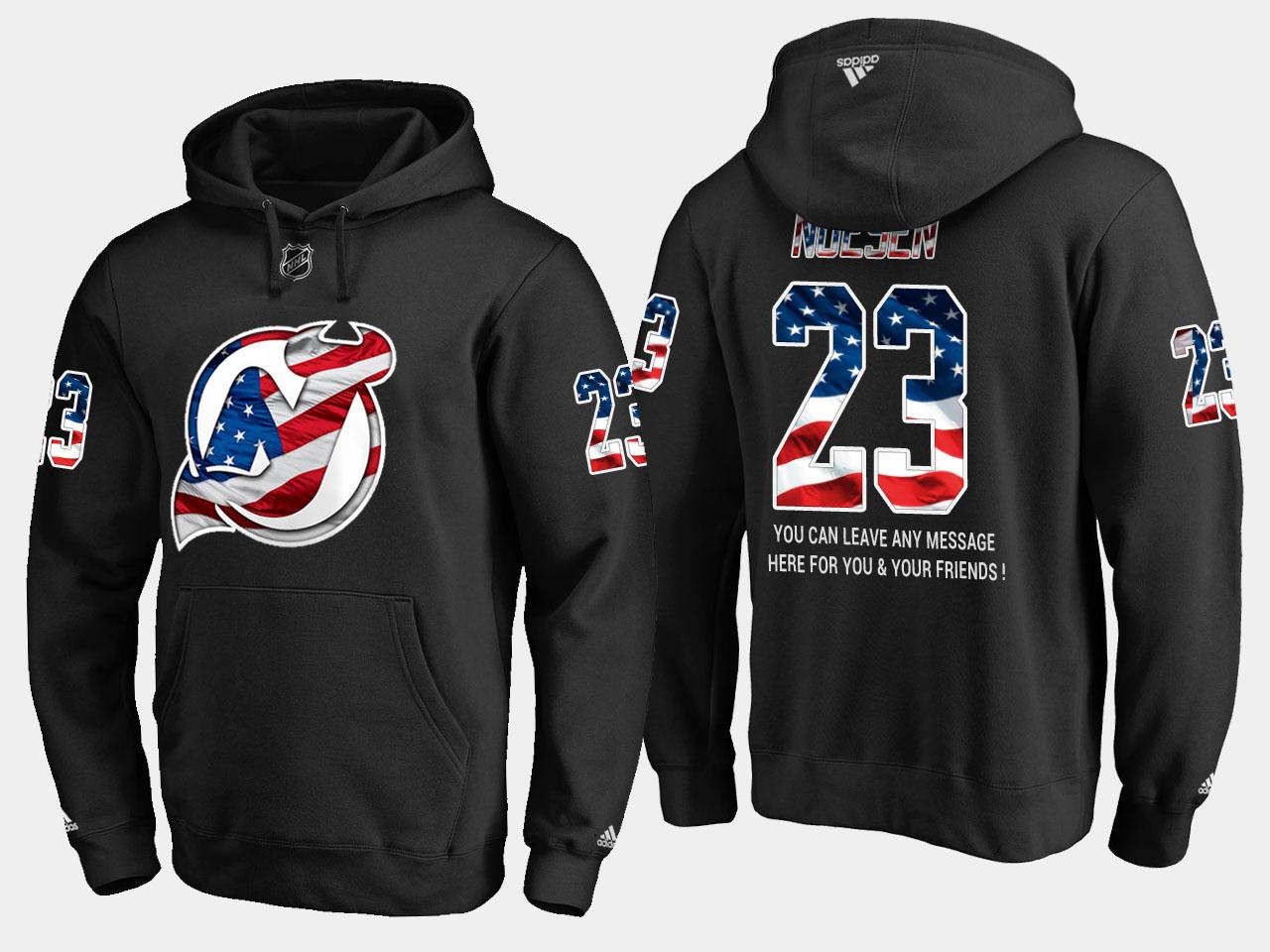 Devils #23 Stefan Noesen NHL Banner Wave Usa Flag Black Hoodie
