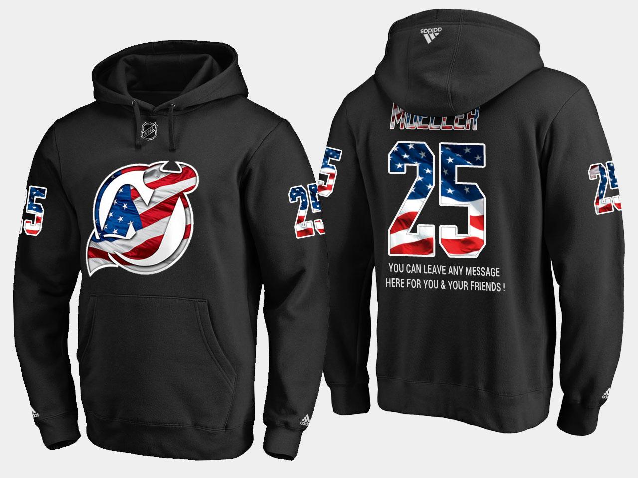 Devils #25 Mirco Mueller NHL Banner Wave Usa Flag Black Hoodie