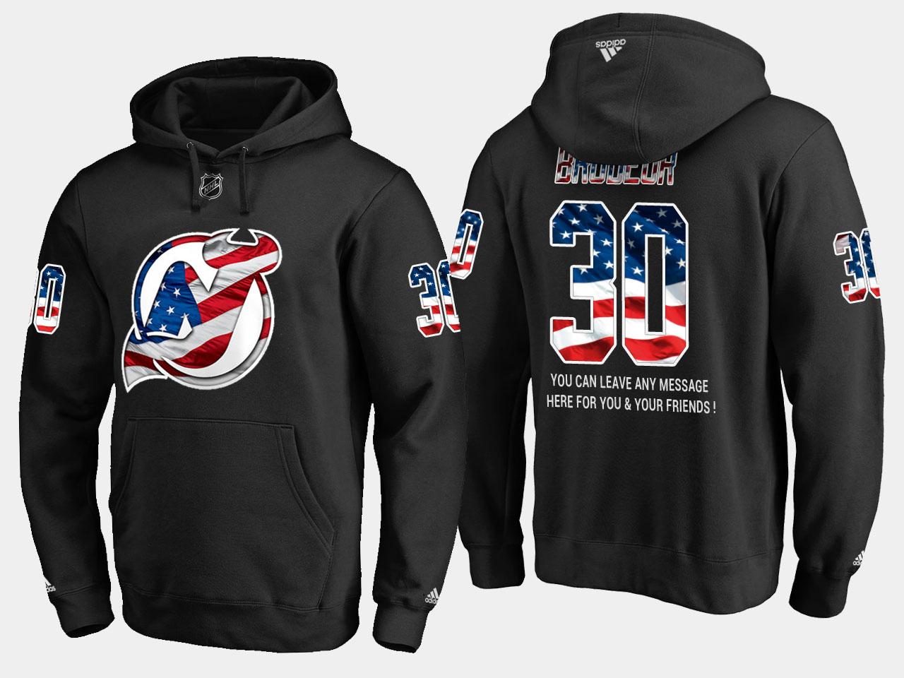 Devils #30 Martin Brodeur NHL Banner Wave Usa Flag Black Hoodie