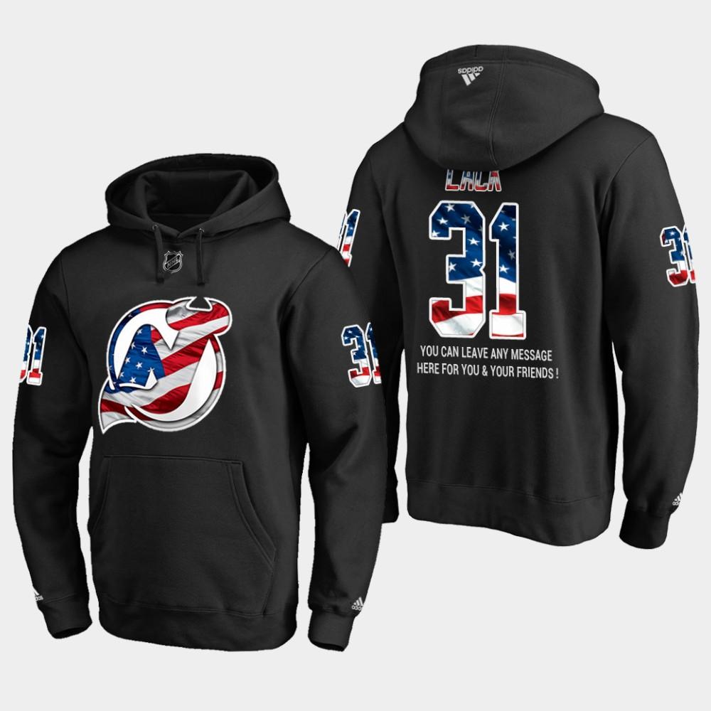 Devils #31 Eddie Lack NHL Banner Wave Usa Flag Black Hoodie