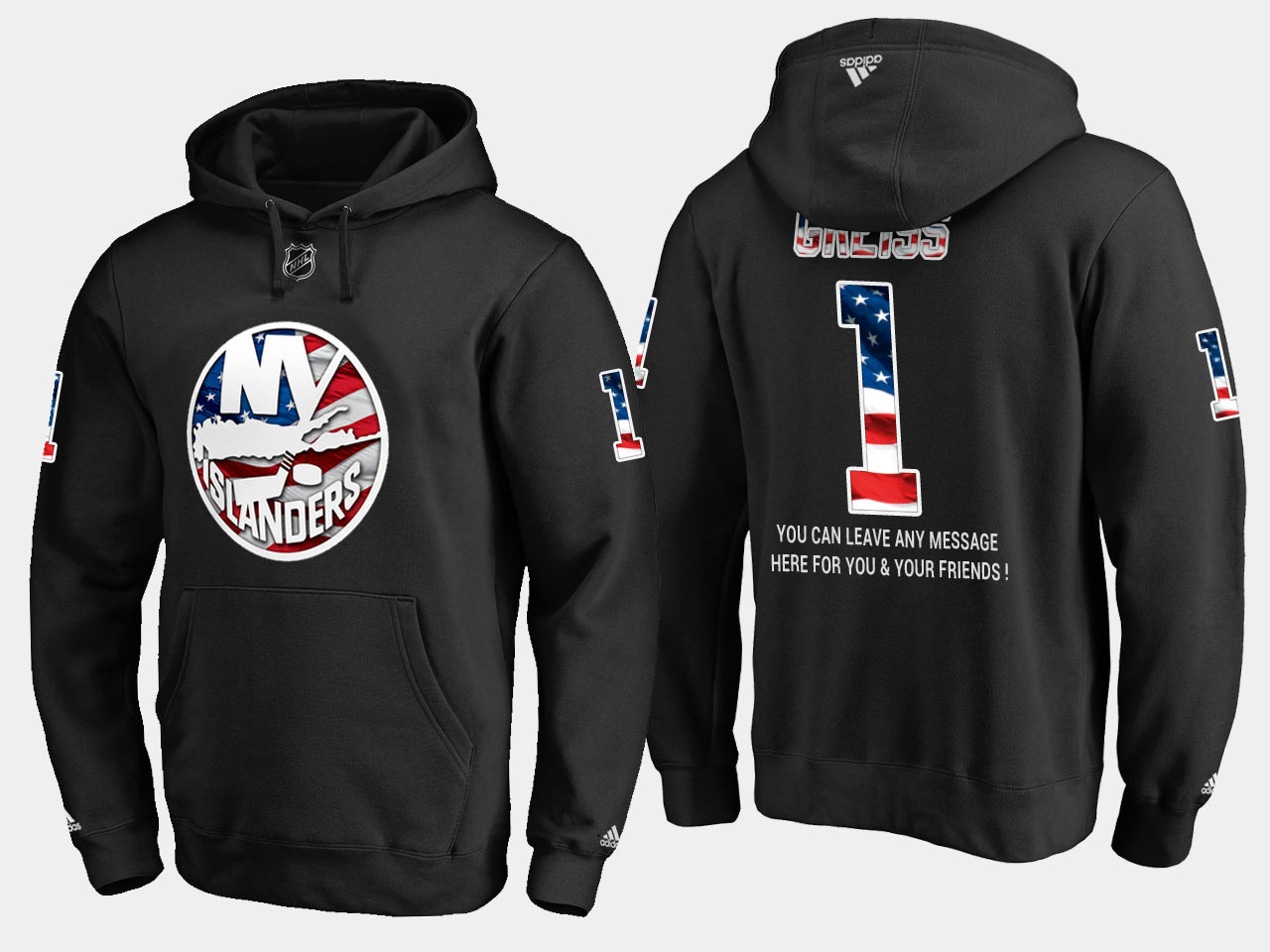 Islanders #1 Thomas Greiss NHL Banner Wave Usa Flag Black Hoodie