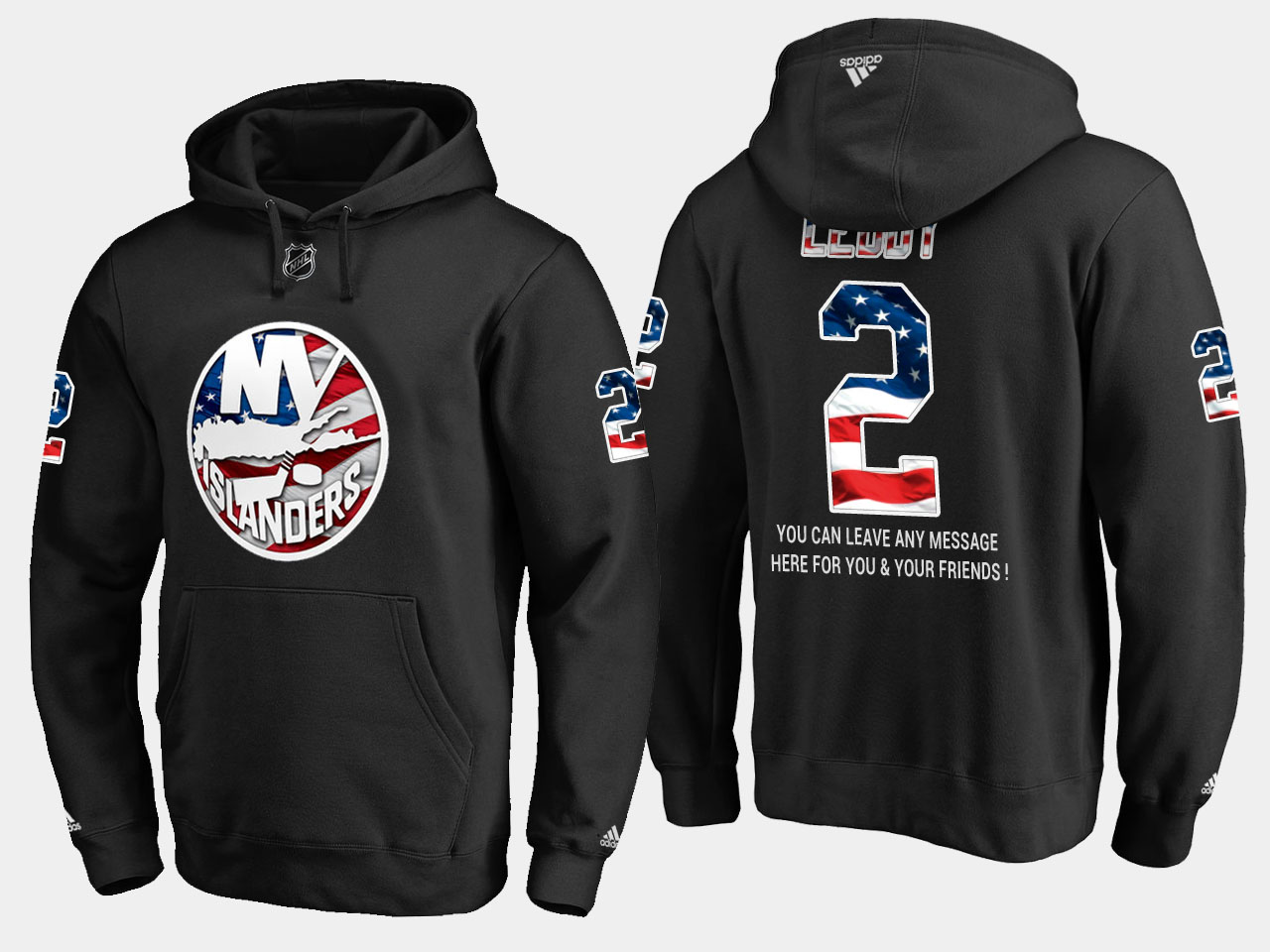 Islanders #2 Nick Leddy NHL Banner Wave Usa Flag Black Hoodie