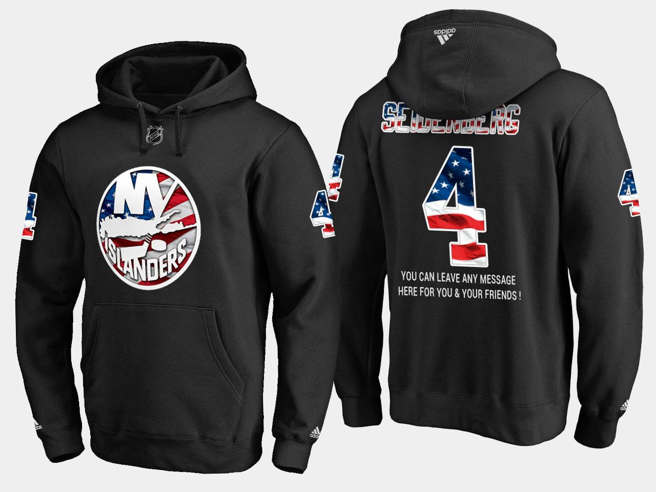 Islanders #4 Dennis Seidenberg NHL Banner Wave Usa Flag Black Hoodie