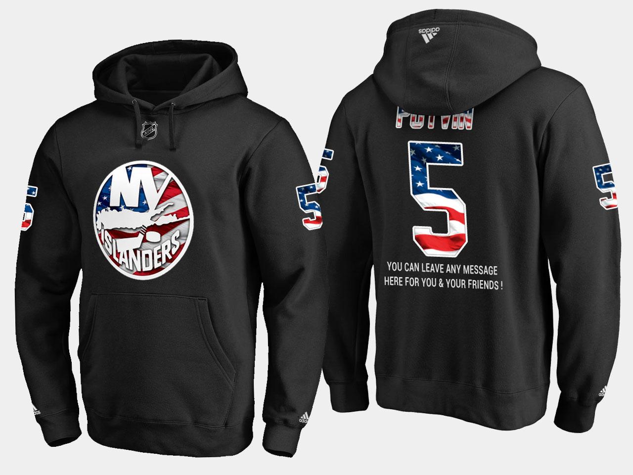 Islanders #5 Denis Potvin NHL Banner Wave Usa Flag Black Hoodie