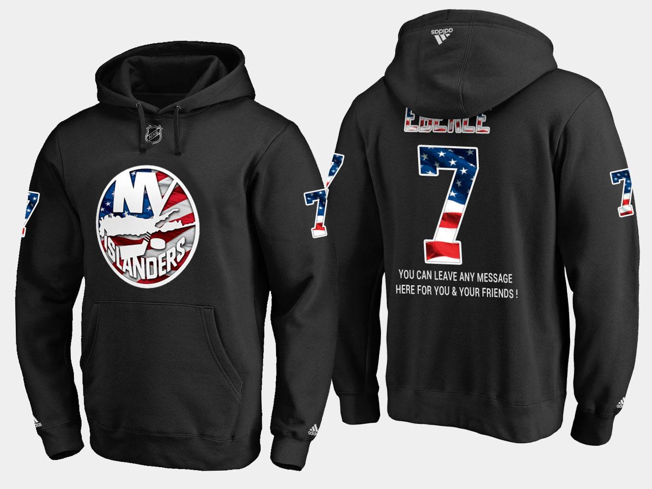 Islanders #7 Jordan Eberle NHL Banner Wave Usa Flag Black Hoodie