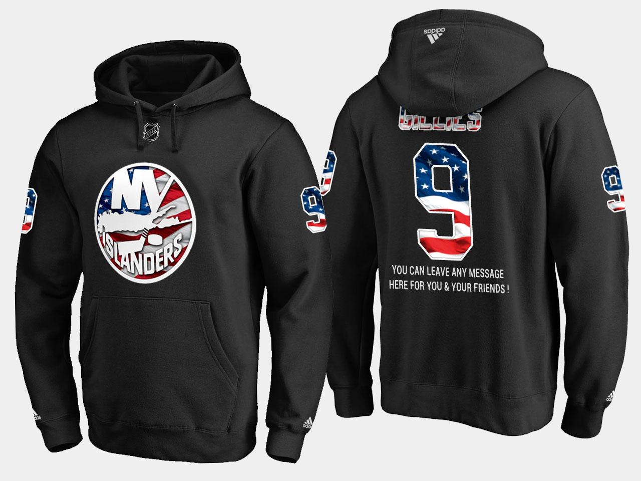 Islanders #9 Clark Gillies NHL Banner Wave Usa Flag Black Hoodie