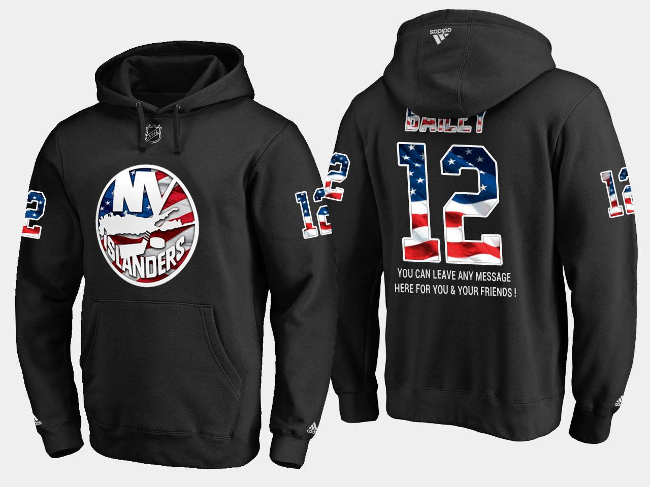 Islanders #12 Josh Bailey NHL Banner Wave Usa Flag Black Hoodie