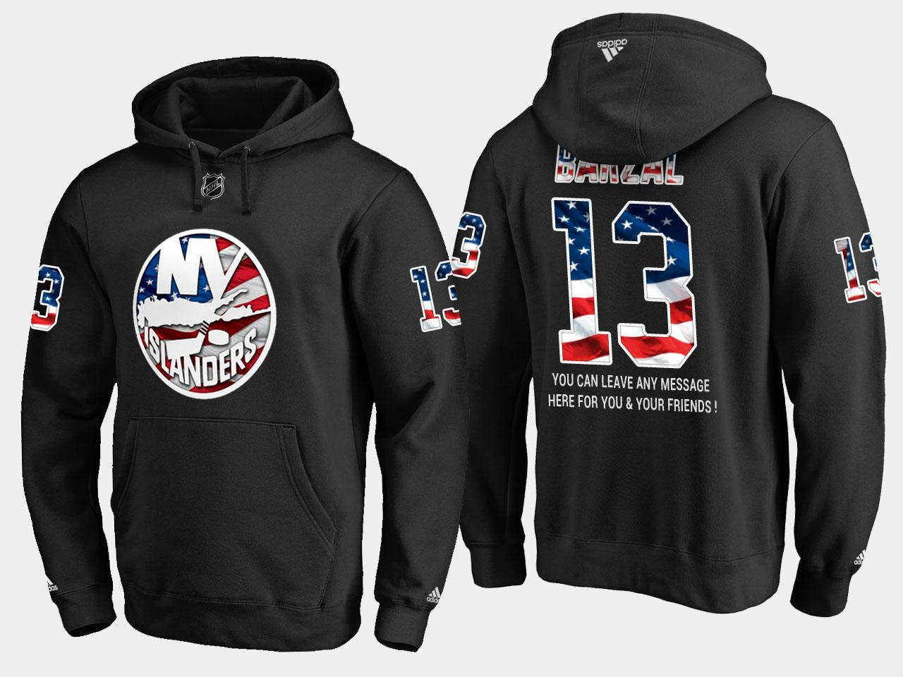 Islanders #13 Mathew Barzal NHL Banner Wave Usa Flag Black Hoodie