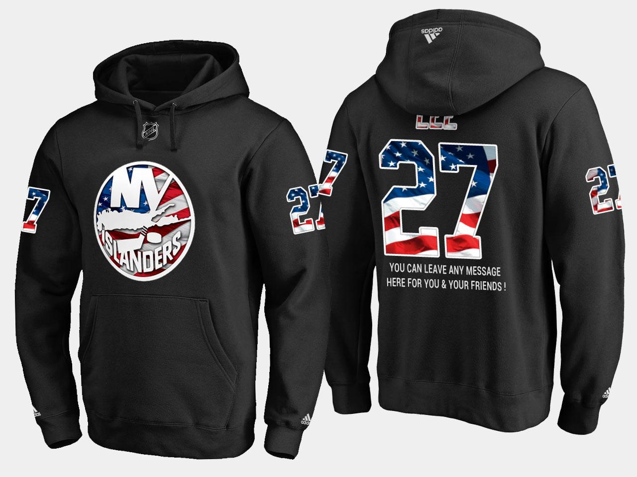Islanders #27 Anders Lee NHL Banner Wave Usa Flag Black Hoodie