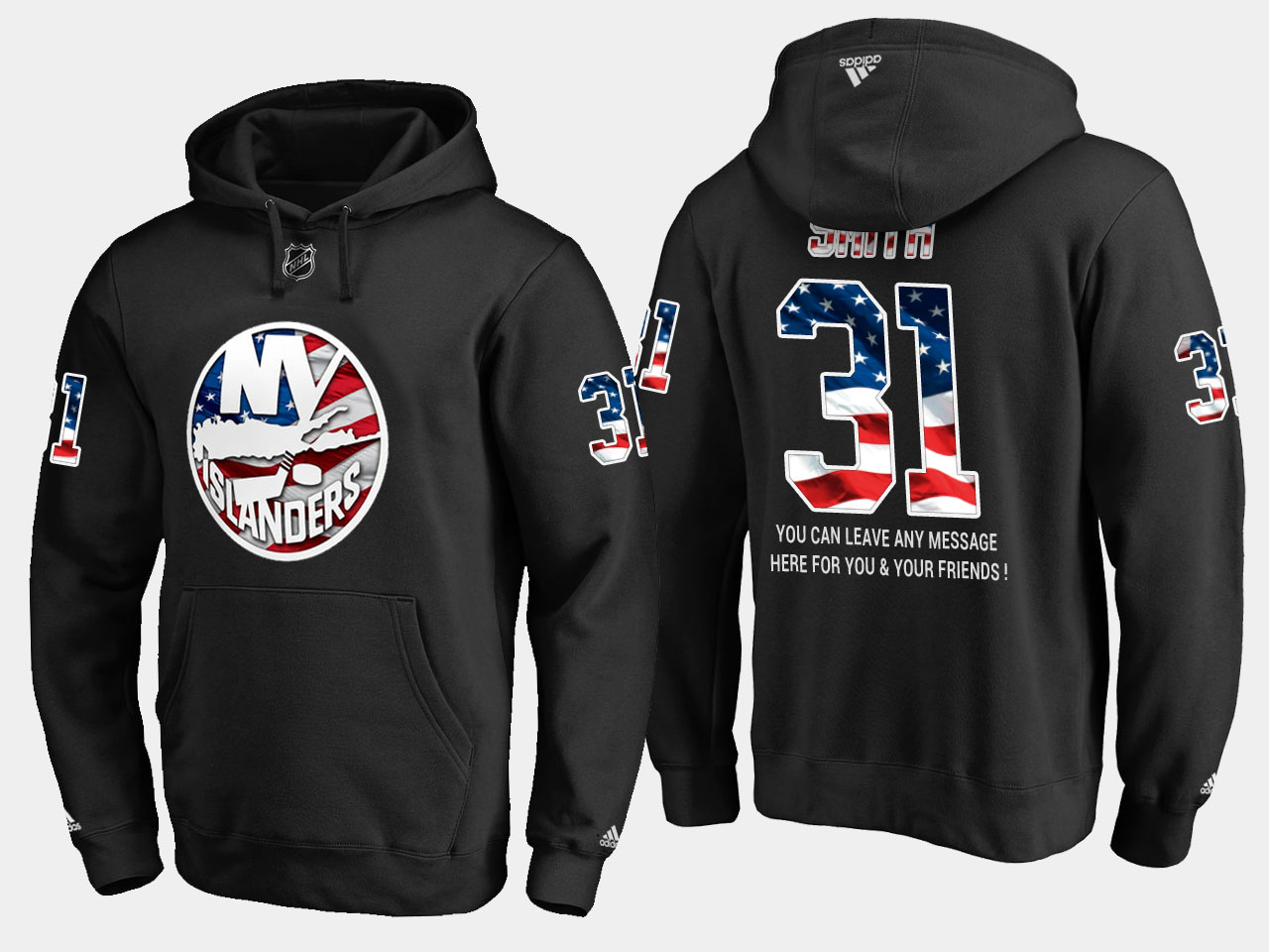 Islanders #31 Billy Smith NHL Banner Wave Usa Flag Black Hoodie