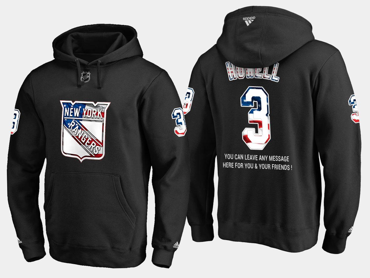 Rangers #3 Harry Howell NHL Banner Wave Usa Flag Black Hoodie