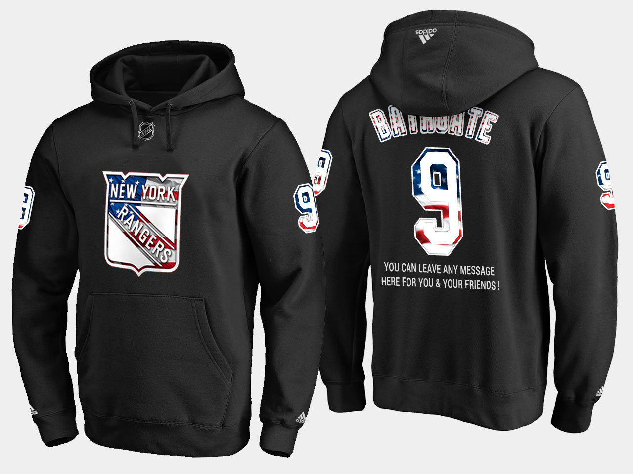 Rangers #9 Andy Bathgate NHL Banner Wave Usa Flag Black Hoodie