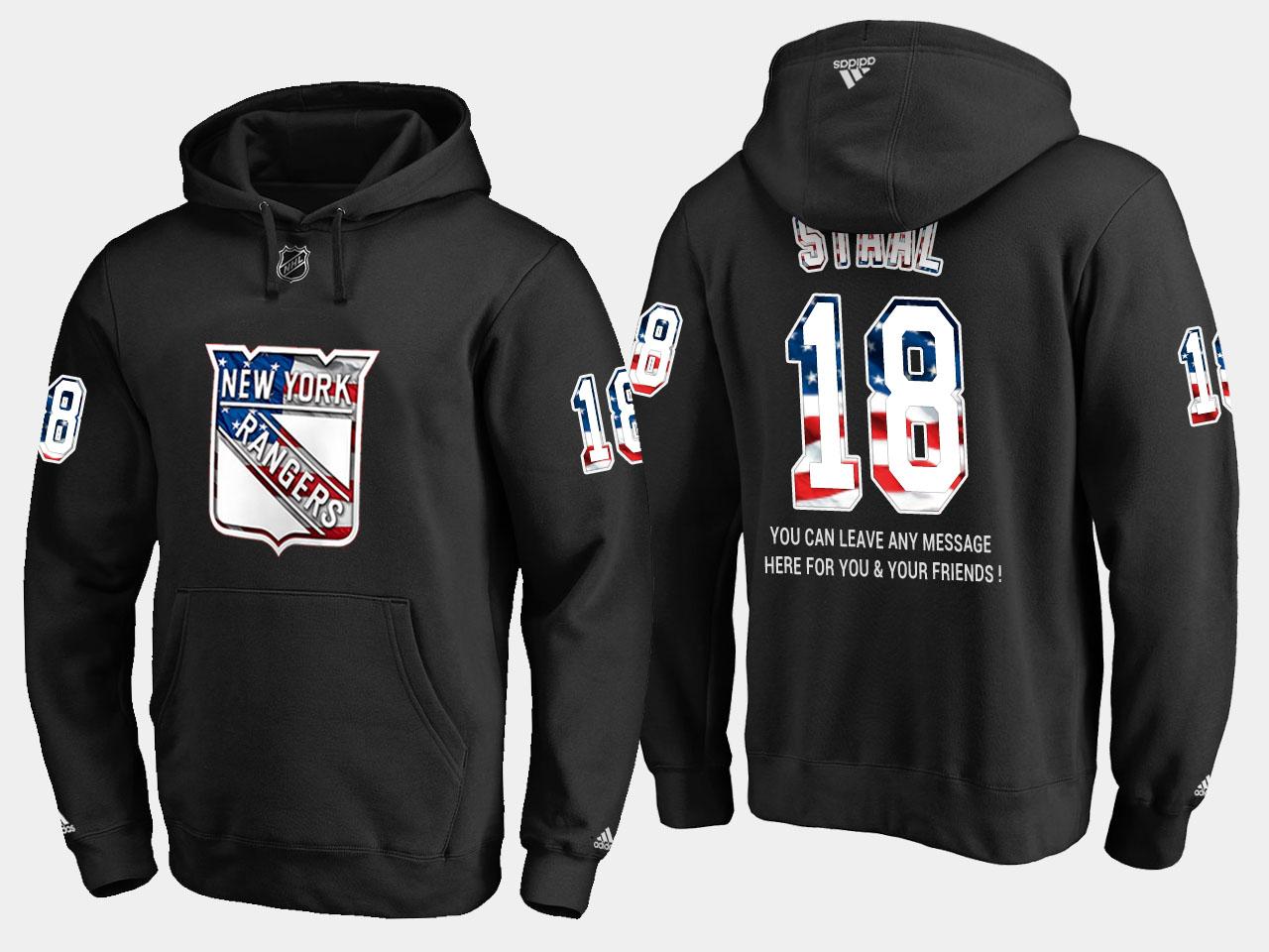 Rangers #18 Marc Staal NHL Banner Wave Usa Flag Black Hoodie