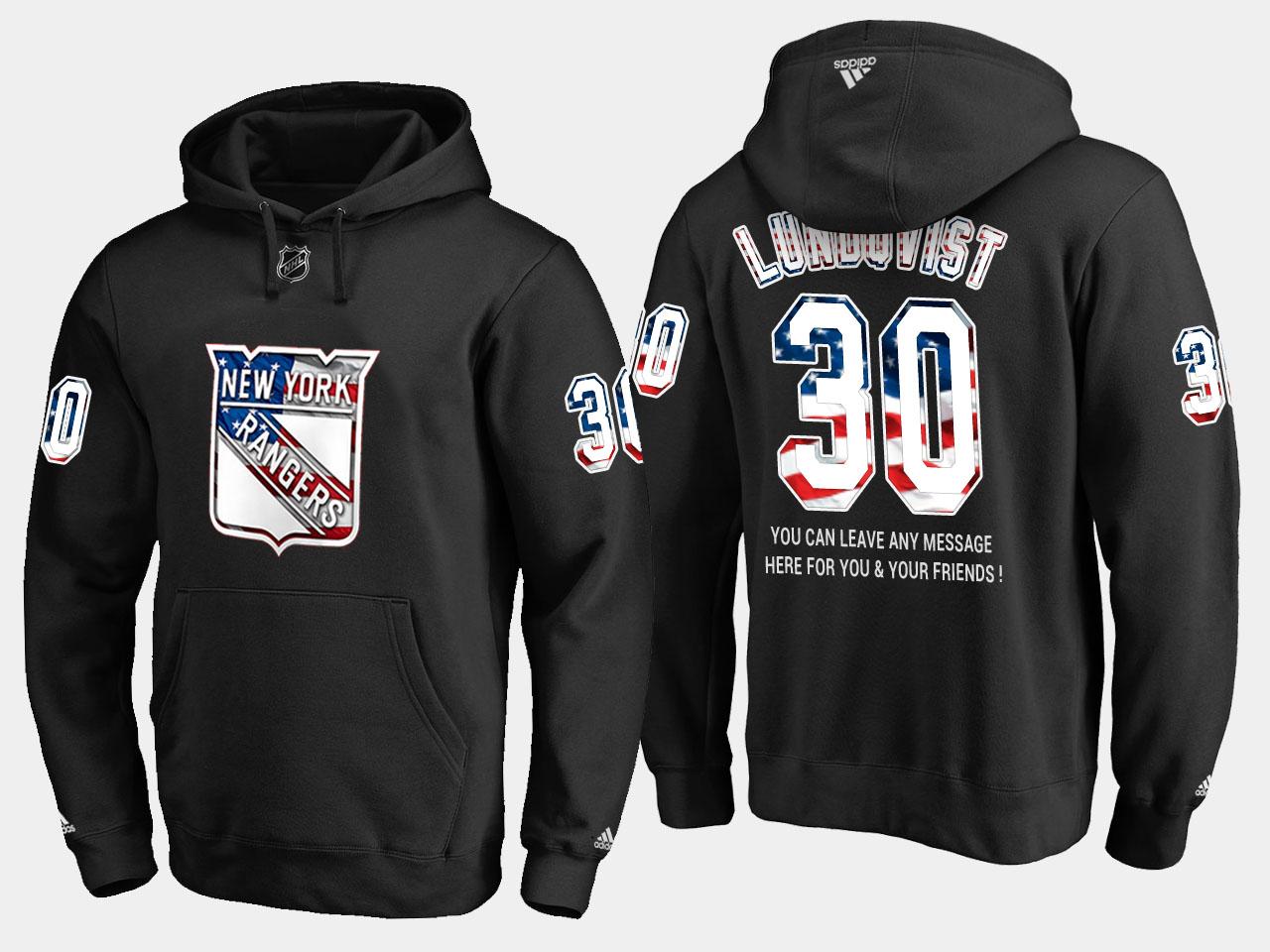 Rangers #30 Henrik Lundqvist NHL Banner Wave Usa Flag Black Hoodie