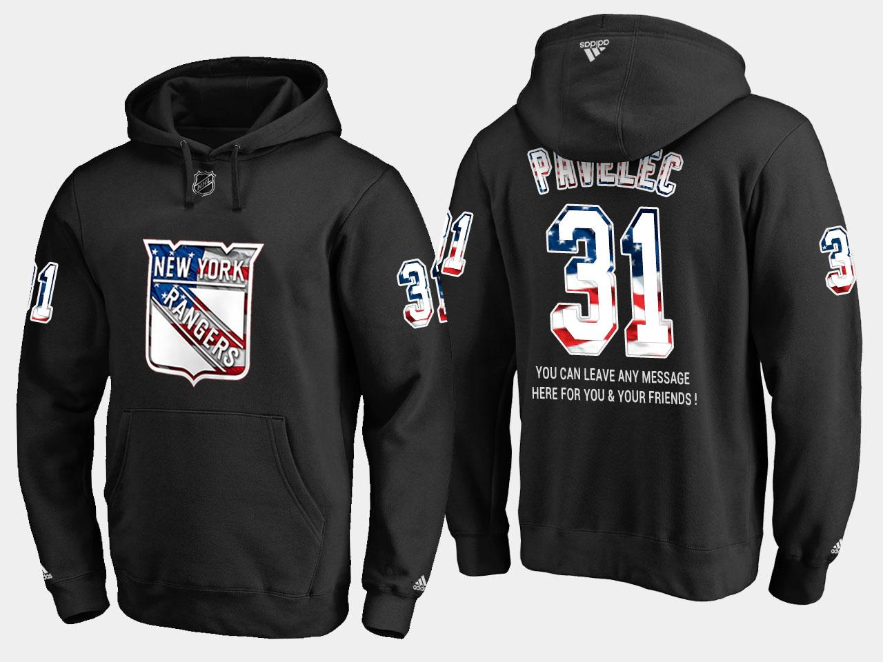 Rangers #31 Ondrej Pavelec NHL Banner Wave Usa Flag Black Hoodie