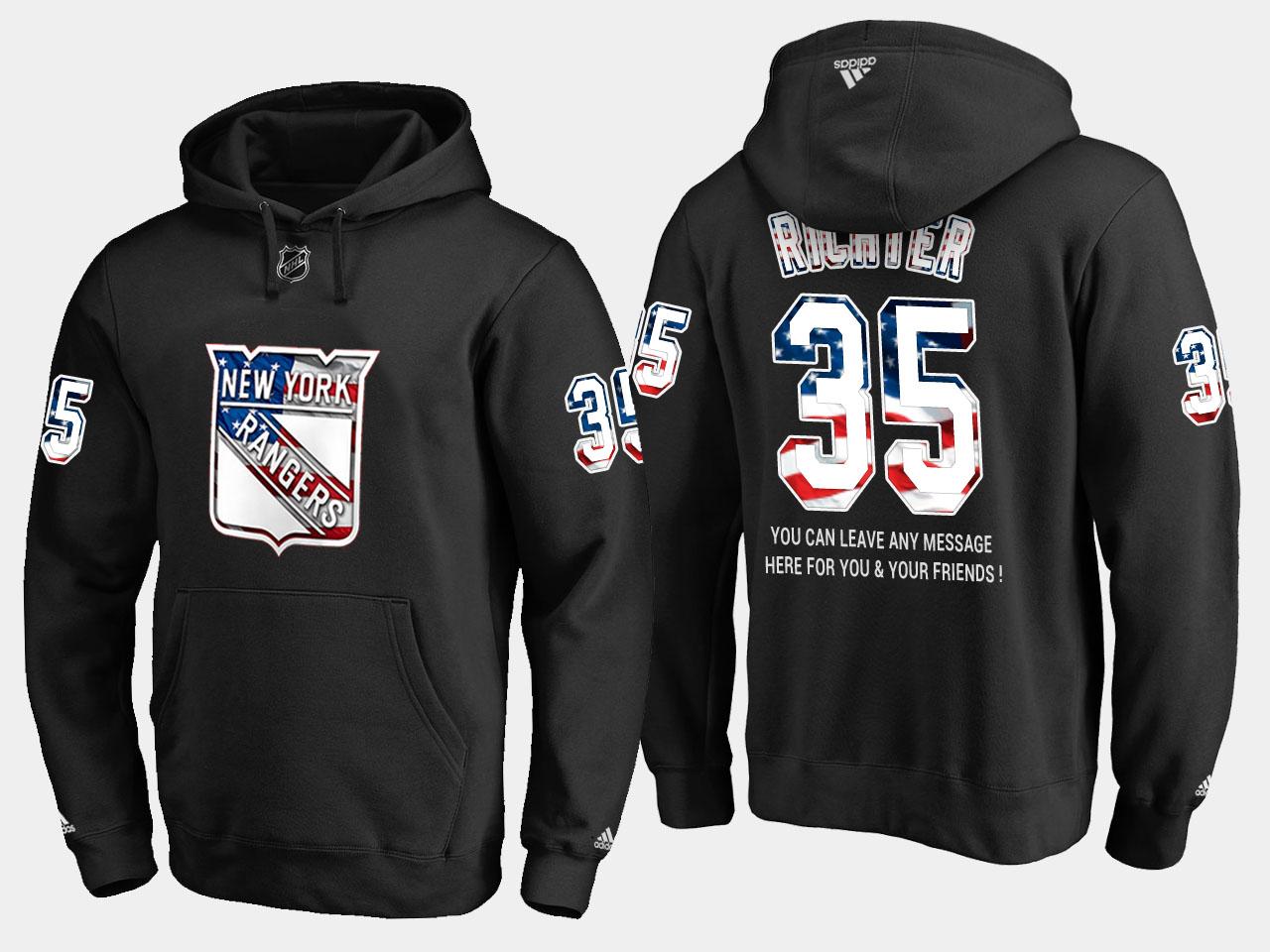 Rangers #35 Mike Richter NHL Banner Wave Usa Flag Black Hoodie