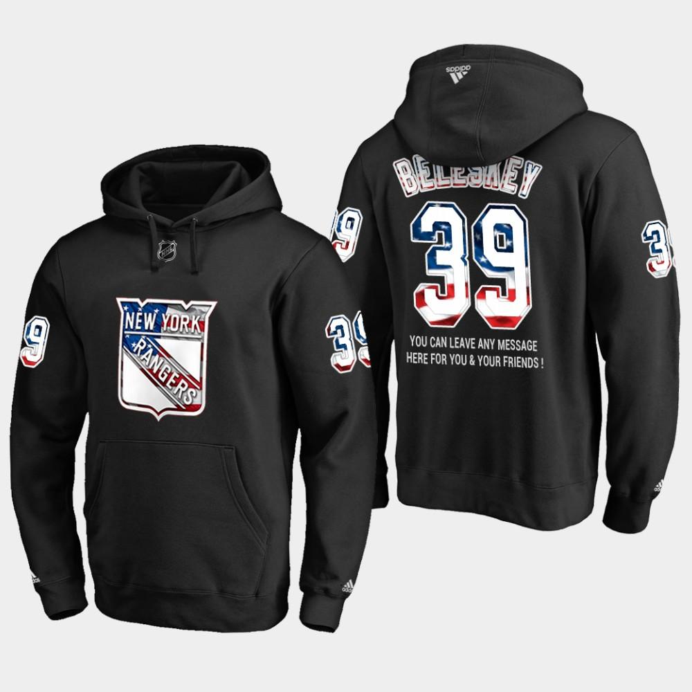 Rangers #39 Matt Beleskey NHL Banner Wave Usa Flag Black Hoodie