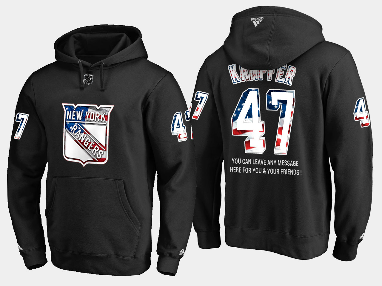 Rangers #47 Steven Kampfer NHL Banner Wave Usa Flag Black Hoodie